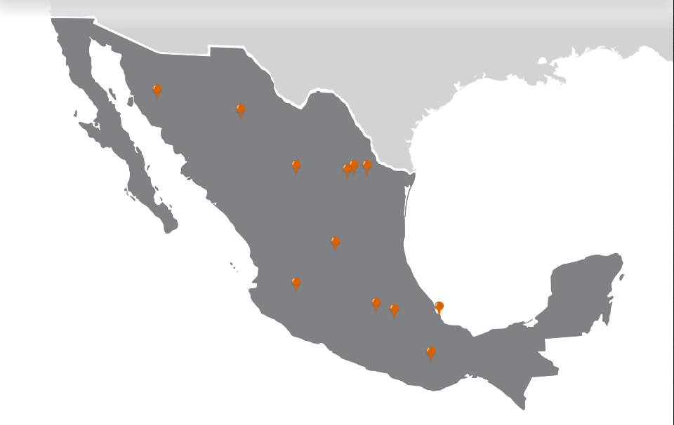 map of locations in Mexico